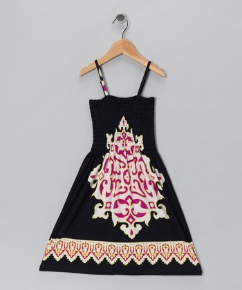 Black & Red Arabesque Sundress - Toddler & Girls