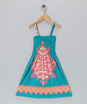 Turquoise & Pink Arabesque Sundress - Toddler & Girls