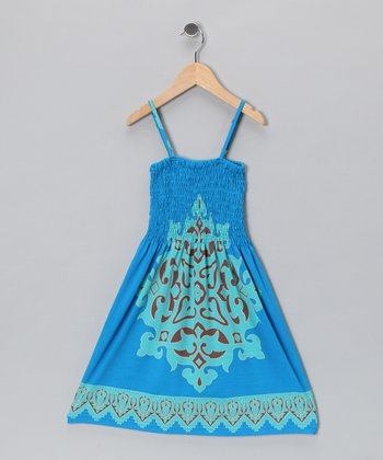 Blue & Teal Arabesque Sundress - Toddler & Girls