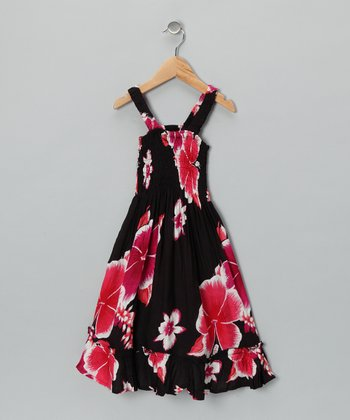 Black & Red Lei A-Line Dress - Toddler & Girls