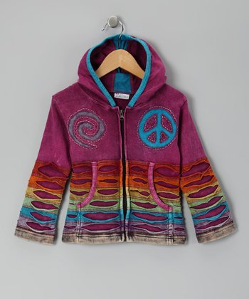 Pink Peace Swirl Zip-Up Hoodie - Girls