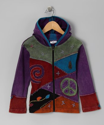 Lavender Peace Sign Patchwork Zip-Up Hoodie - Girls
