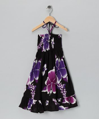Purple & Black Lei Halter Dress - Toddler & Girls
