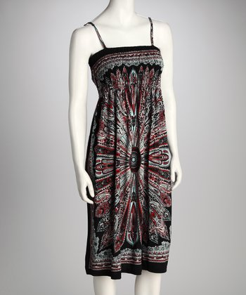 Black & Red Shirred Paisley Dress