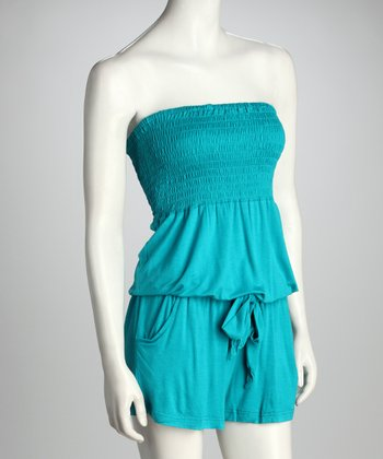 Teal Shirred Strapless Romper