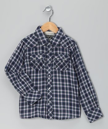 Navy Plaid Dudley Button-Up - Boys