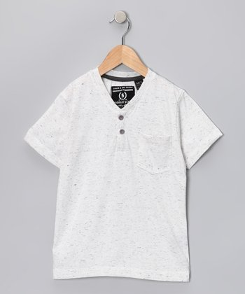 White Heathered Dang Henley - Boys