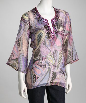 Purple Sheer Paisley Embellished Tunic