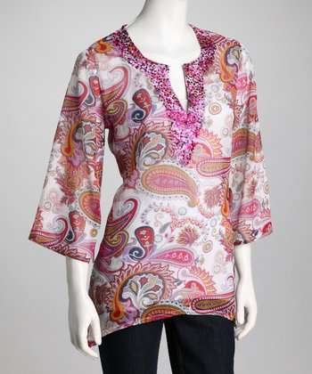 Pink & White Sheer Paisley Embellished Tunic