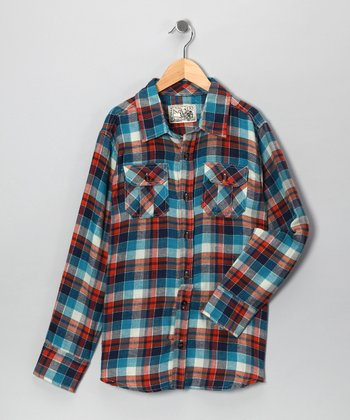 Industry 9 Red & Blue Plaid Button-Up - Boys