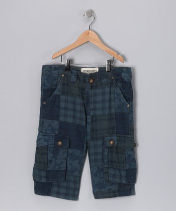 Blue Patchwork Cargo Shorts - Boys
