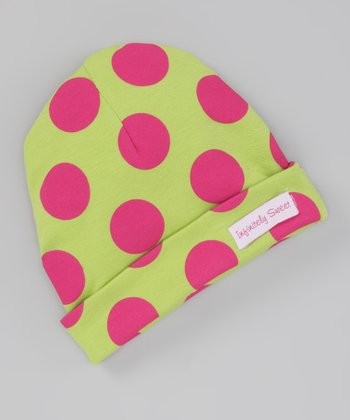 Lime & Hot Pink Polka Dot Beanie