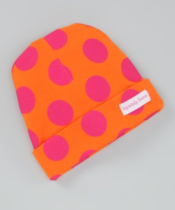 Orange & Hot Pink Polka Dot Beanie