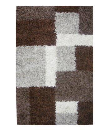 Beige & Brown Cube Shag Rug