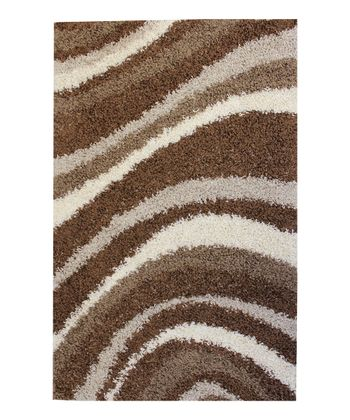 Brown Sandbar Waves Shag Rug