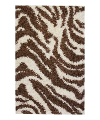 Brown Zebra Safari Shag Rug