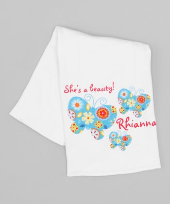 White 'She's a Beauty' Personalized Burp Cloth