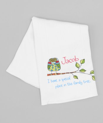 White 'Family Tree' Personalized Burp Cloth