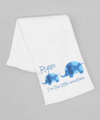 White & Blue 'Little Brother' Personalized Burp Cloth