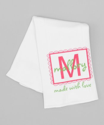 Green & Pink 'Made With Love' Personalized Burp Cloth
