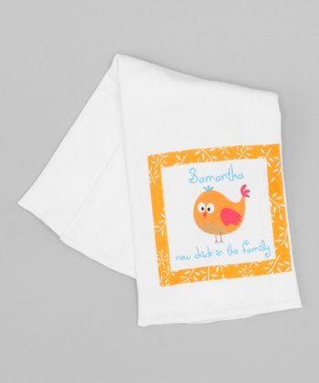 White 'New Chick in the Family' Personalized Burp Cloth