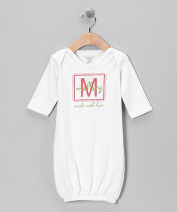 Green & Pink 'Made With Love' Personalized Gown - Infant