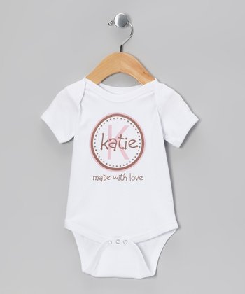 White & Pink 'Made With Love' Personalized Bodysuit - Infant