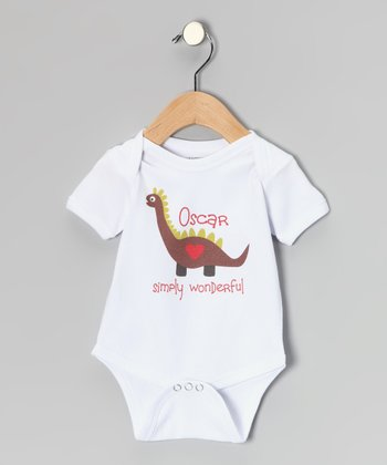 White Personalized Dino Bodysuit