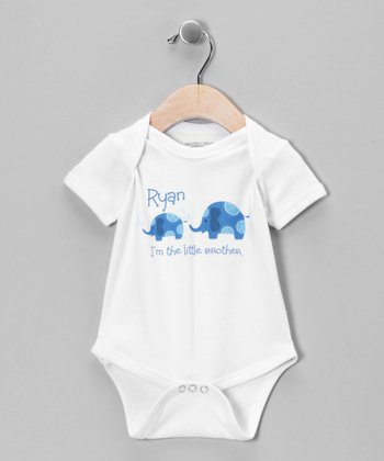 White & Blue 'Little Brother' Personalized Bodysuit - Infant