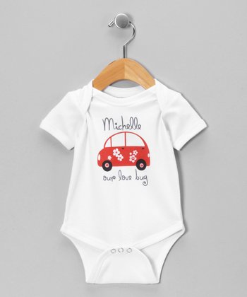White 'Love Bug' Personalized Bodysuit - Infant