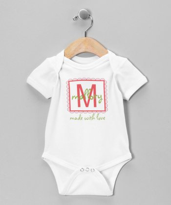Green & Pink 'Made With Love' Personalized Bodysuit