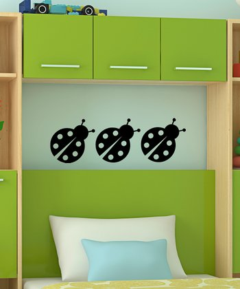 Black Chatty Ladybug Wall Decal - Set of Three