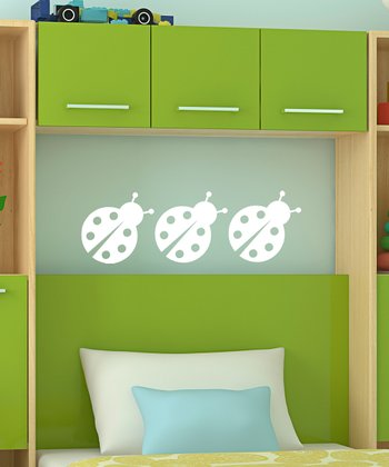 White Chatty Ladybug Wall Decal - Set of Three