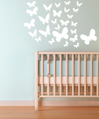 White Fluttering Butterfly Wall Decal Set