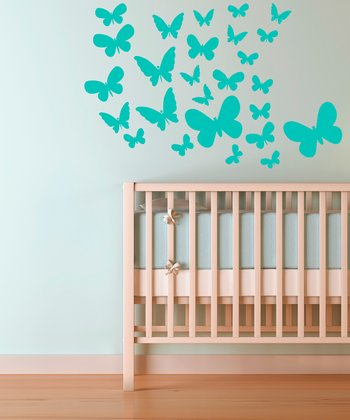 Mint Fluttering Butterfly Wall Decal Set