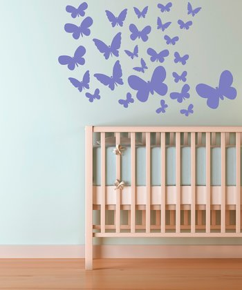 Lavender Fluttering Butterfly Wall Decal Set