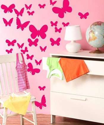 Magenta Fluttering Butterfly Wall Decal Set