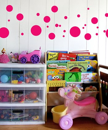 Bright Pink Polka Dot Wall Decal Set