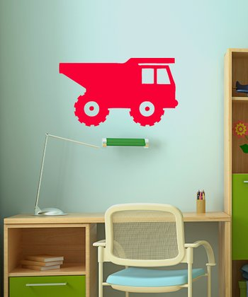 Red Rolling Dump Truck Wall Decal