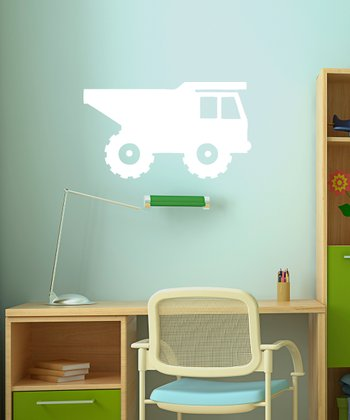 White Rolling Dump Truck Wall Decal