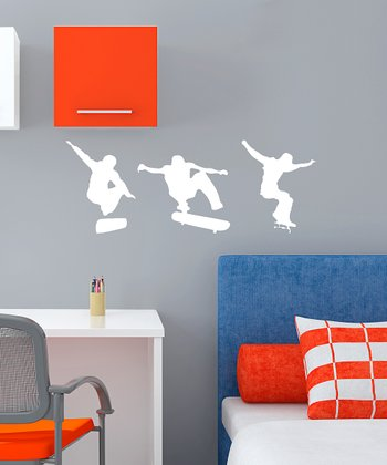 White Skateboarding Action Wall Decal Set