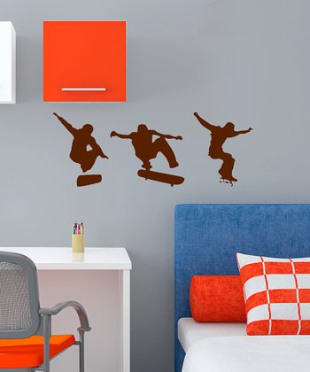 Brown Skateboarding Action Wall Decal Set