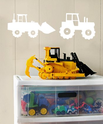 White Tractor Crew Wall Decal Set