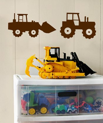 Brown Tractor Crew Wall Decal Set