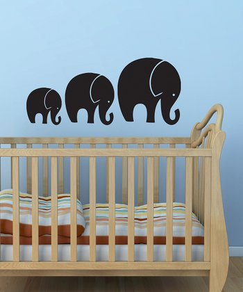 Black Tromping Elephant Wall Decal Set