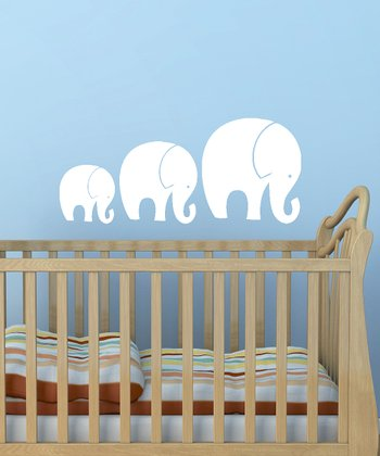 White Tromping Elephant Wall Decal Set