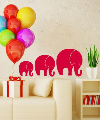 Red Tromping Elephant Wall Decal Set