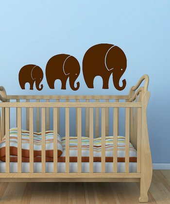 Brown Tromping Elephant Wall Decal Set