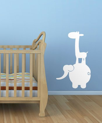 White Jungle Buddies Wall Decal