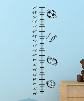Black All About Sports Growth Chart Wall Decal